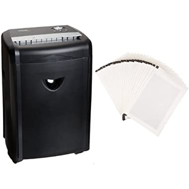 AmazonBasics 12-Sheet High-Security Micro-Cut Pape Shredder with Pullout Basket and Shredder Sharpening & Lubricant Sheets (Pack of 24) Bundle