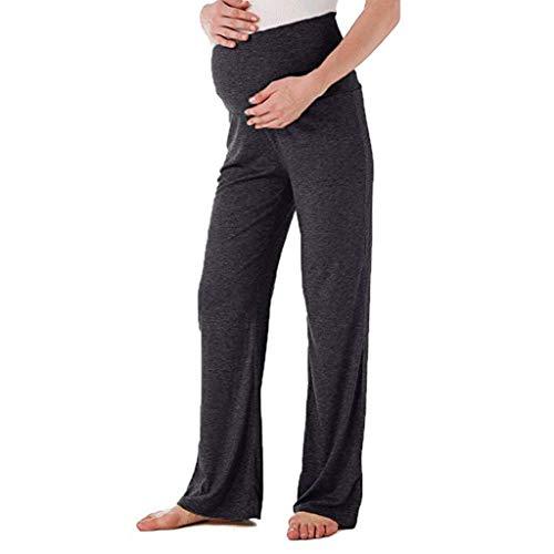 Beikoard Abbigliamento Premaman Estivo Pantaloni Donne Incinte Ampi Pantaloni Dritti Pantaloni da Donna Elastici(Nero,XL)