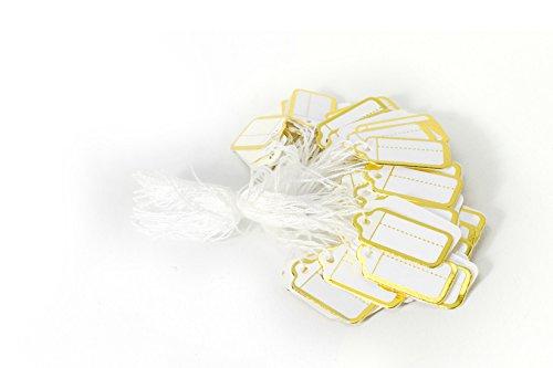 MissBirdler 100 Stk. Elegante Kleine Anhängeschilder Gold-Weiß mit Schnur Faden Etiketten Preisschilder Namensschilder Kraftpapier Karton Tags Labels mit Goldrand Basteln Geschenke Hochzeit Babyshower