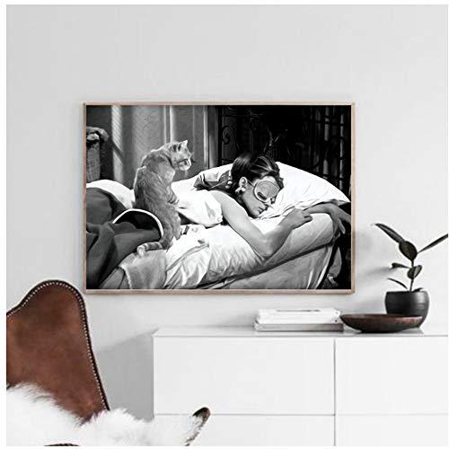 A&D Audrey Hepburn Schwarz und Weiß Wandkunst Leinwand Malerei Movie Poster Vintage Poster Und Drucke Wandbilder Für Wohnzimmer-50x75 cm Kein Rahmen
