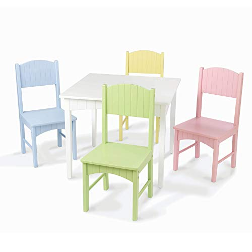 KidKraft Nantucket Kid's Wooden Table & 4 Chairs Set with Wainscoting Detail, Pastel, Gift for Ages 3-8