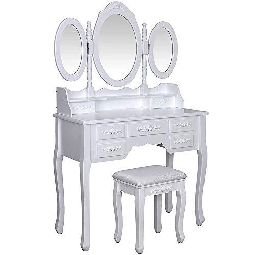 Fantastic Deal! BoeWan Vanity Mirror Dresser Table Durable Trifold Mirrors Makeup Vanity Table Set C...