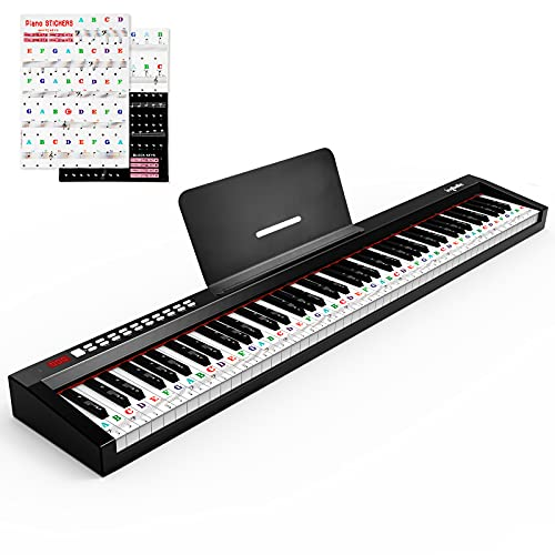 88-Key Digital Piano Keyboard with Sustain Pedal, ingbelle Portable Electric Piano for Teaching,Powerful Educational Features for Beginner,Piano Stickers Include