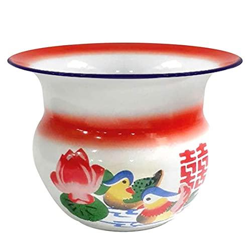 healthwen Anni '60 cinese tradizionale cesto di frutta Vaso cinese Antico utensile da cucina Champagne secchiello per il Ghiaccio decorazioni di nozze Rosso Bianco 16 * 22 cm