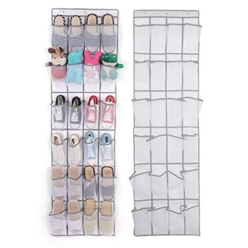 Viccilley Bolsa de Almacenamiento sobre la Puerta Organizador de Juguetes para Zapatos Estante para Colgar Almacenamiento Ahorrador de Espacio con 24 Bolsillos(Blanco)