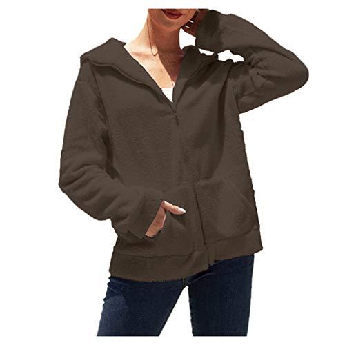 Supertong Hoodies Damen Jacke Übergangsjacke Herbst Winter Warm Fleece Kapuzenpullover Kapuzenjacke Mädchen Plüschjacke Einfarbig Große Größe Plüsch Mantel Sweatshirt Winterjacke