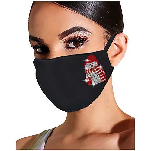 Lomelomme Glänzend Strass Mund Nasenschutz, Damen Waschbar Mundschutz mit Motiv Baumwolle Glitzer Wiederverwendbar Atmungsaktiv Mund und Nasenschutz Stoff (Z-9, One size)