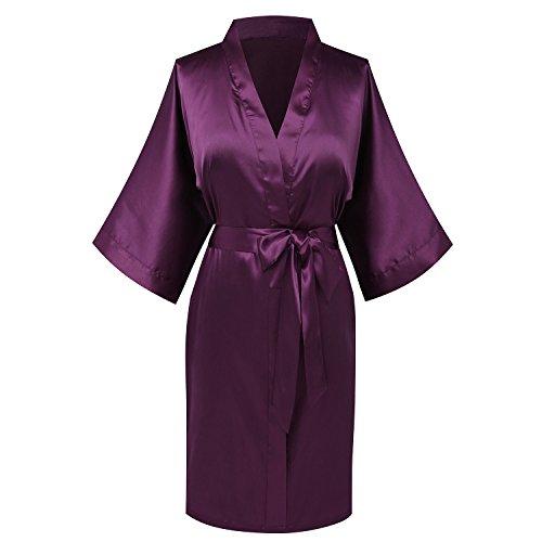 Goodmansam Women's Simplicity Stlye Bridesmaid Wedding Party Kimono Robes, Short,Eggplant Purple4,Large