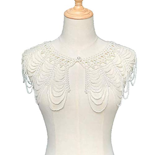 Collar De Perlas Sexy Gargantilla Cadenas De Hombro, Collar De Chal De Perlas Tejido A Mano Cadena De Cuerpo De Declaración Collar Largo Bisutería para Mujeres Y Niñas