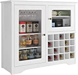 HOMECHO Wine Bar Storage Cabinet Wood Kitchen Buffet Server with 20-Bottle Display Rack Holder and Glass Hook, Liquor Cupboard Sideboard Table, Modern Dining Room Furniture, White
