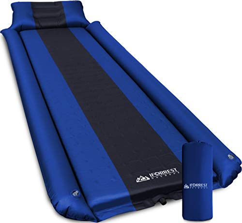 IFORREST Sleeping Pad w/Armrest & Pillow - Rollover Protection - Self-Inflating Camping Mattress, Best Cot-Mats - Ultra-Comfortable Hiking Backpacking Air Bed (L/XL) (Navy Blue/Large)