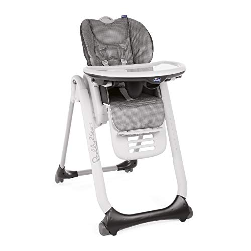 Chicco - Chaise Haute Bébé Polly 2 Start - 4 Roues - Naissance à 3 ans - Anthracite