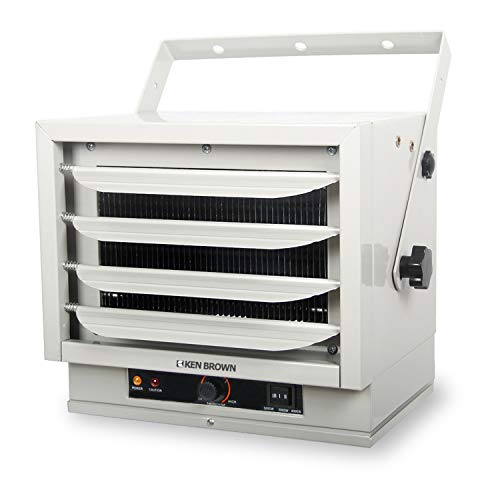 KEN BROWN 3000/4000/5000W Fan Forced Ceiling Mount Heater with Dual Knob Controls for Garage, Workshop, Warehouse or Storage Area, ETL Safety Listed