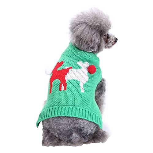 Amphia Haustier Kostüm - Haustier Hund zweifarbig Elch Pullover,Haustier Hund Katze Winter Warm Deer Pullover Mantel Kostüm Bekleidung(Grün,S)