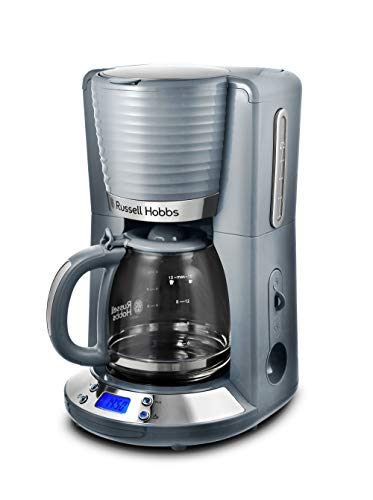 Russell Hobbs Inspire - Cafetera de goteo (jarra cristal, 15 tazas, 1000 W, digital, programable, gris) ref. 24393-56