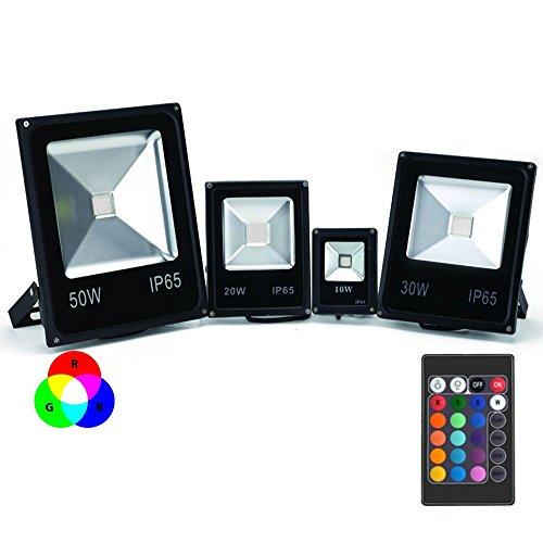 Projecteur LED Couleur RGB Intérieur/Extérieur Extra Plat Avec Télécommande - 10W, 20W, 30W, 50W, 100W (Nouveau !) - 10 watts/ 970lm/ ~88w