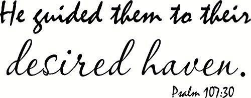 Quote Wall Decal Salmo 107:30 Él los guió a su refugiado hogar decoración de pared para sala de estar