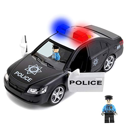 Friction Powered Police Car & 2 Toy Figures with Light & Sounds – Heavy Duty Plastic Vehicle Toy for Kids & Children – Openable Doors, Detailed Interior by Toy To Enjoy