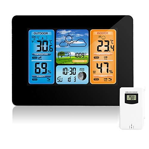 Station météo sans fil Station de prévision numérique des couleurs Thermomètre Intérieur Extérieur Thermomètre Humidité Baromètre Alarme Phase de lune Horloge météo avec capteur extérieur