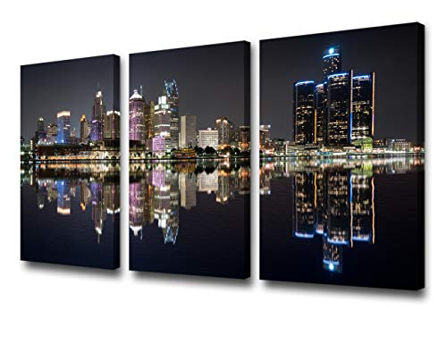 Wall Art Beautiful Detroit Skyline Black & White Canvas Art Paintings for Room Decor Cityscape Skyscrapers Night Scene Picture Prints On Canvas for Home Decor Modern Framed -24' 'x 12'' x 3 panels