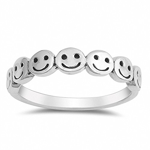 Blue Apple Co. Smiley Face Band Ring 925 Sterling Silver Smiley Faces, Size-7