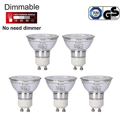 Preisvergleich Produktbild GU10 LED Lampe Dimmbar Kimjo 6W Neutralweiß 4000K Ersatz für 75W Halogenlampen,  550LM 82Ra LED GU10 Leuchtmittel 120 °Abstrahlwinkel 5er