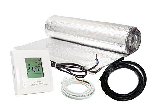 Komplett-Set elektrische Fußbodenheizung für Parkett/Laminat digitales Thermostat (15 m² - 0.5 m x 30 m)