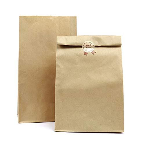 Kslong 50 bolsas de almuerzo marrón para llevar alimentos bolsas de regalo para fiesta de cumpleaños, boda, Navidad, 18 x 11 x 32 cm