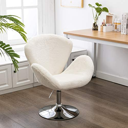 Faux Fur Swivel Makeup Stool, Modern White Swan Chair Long Hair Shaggy Dog Accent Chair for Living Room/ Bedroom (Alabaster White)