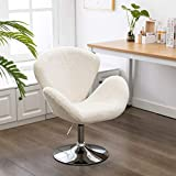 Soft Fuzzy Swivel Makeup Stool, Modern White Swan Chair Faux Rabbit Fur Accent Chair for Living Room/Bedroom/Dressing Room (Ivory White)