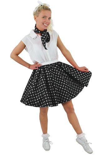 I LOVE FANCY DRESS LTD Jupe Courte pour Adulte Noire à Pois Blancs Style Rock'n Roll des années 50 avec Un Petit Foulard Assorti. Idéal pour Les Spectacles de Danse. ( Standard )