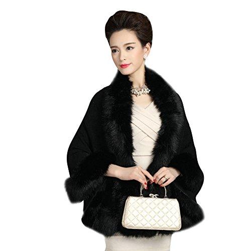 Elfjoy Luxury Bridal Faux Fur Cashmere Wool Shawl Cloak Cape Wedding Dress Party Coat for Winter (Black)