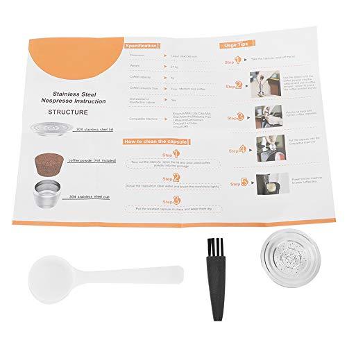 Cápsula de café, taza de cápsula de café recargable, filtro reutilizable, cepillo, cuchara, kit de repuesto
