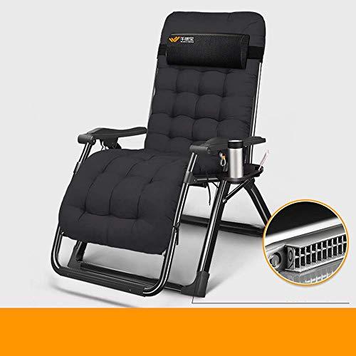 Tumbona, silla de gravedad cero, sillas de cubierta, cama de oficina, silla de playa de ocio, cama de acompañamiento al hospital, asiento al aire libre, soporte negro y almohadilla de algodón
