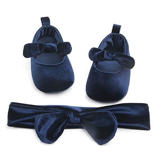 Carolilly Set Babyschuhe für Kleinkinder und Kleinkinder, mit Schleife, rutschfest, mit Stirnband, Blau 6-12 Monate