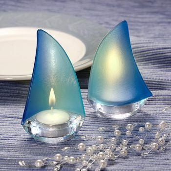 Sailboat Design Candle Holder Favors (9 pieces)