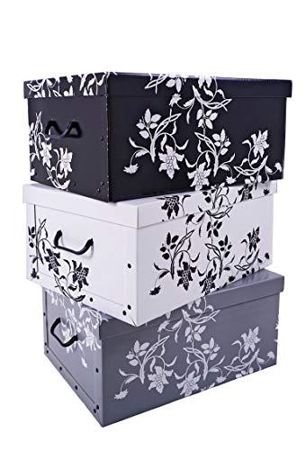 3er Set Aufbewahrungsbox in 3 Farben (weiß, schwarz und grau) mit jeweils 45 Liter Inhalt - Blumenmuster im Barock Stil