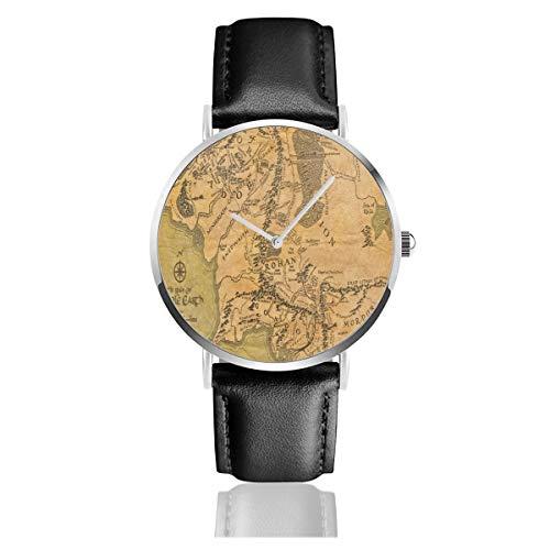 Lord of the Ring (Mappa) cinturino in pelle orologio da polso casual classico acciaio inossidabile orologio da lavoro