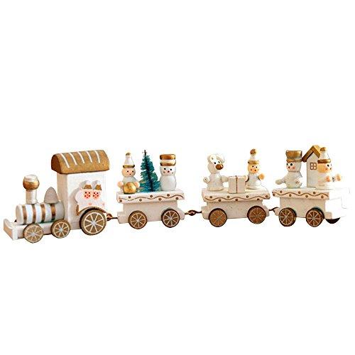 Train de Noël, Moonvvin Wood Mini train jouet, DE Décorations de Noël pour fête Décorations de vacances