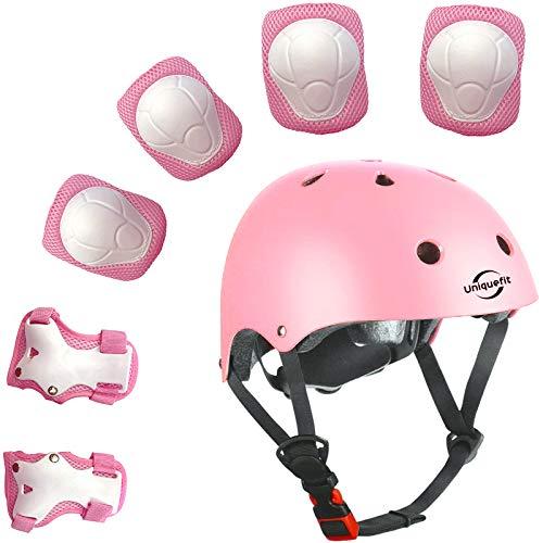 Lucky-M Kinder 7 Stücke Outdoor Sports Schutzausrüstung Set Jungen Mädchen Fahrradhelm Sicherheit Pads Set [Knie Ellbogenschützer und Handgelenkschutz] für Roller Scooter Skateboard Fahrrad (Pink)