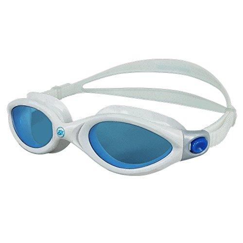 Barracuda Swim Goggles - Curved Lenses Streamline Design, Anti-Fog UV Protection, One-Piece Frame Soft Seals, Easy Adjusting Comfortable Leak Proof for Adults Men Women #32420 (Blue/White)