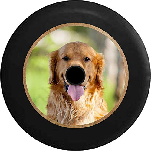 Pike Outdoors JL Series Spare Tire Cover Backup Camera Hole Full Color Golden Lab Retriever Hunting Dog - Man's Best Friend Black 32 in