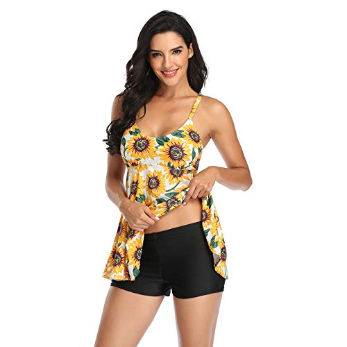Women Two Piece Tankinis with Shorts American Flag Print Backless Swimwear Push Up Padded Bras Beachwear Halter Swimsuits (Yellow, 3XL)