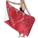 Toallas de baño Corazoacute;n Rojo Flor Toalla de baño Suave de Secado rápido de Fibra extrafina para Viajes, Deportes de natación, 80 cm × 130 cm