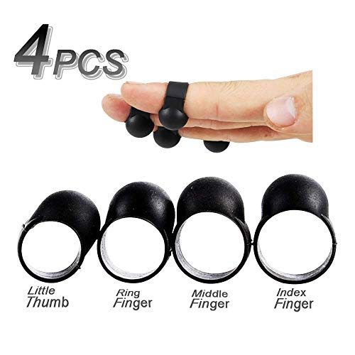 Steel Tongue Drum Finger Sleeve, WGCC 4 Pcs Silicone Knocking Playing Finger Picks Cover Percussion Instrument - Handpan Mallet Finger Sleeves for Beginners (Grey)