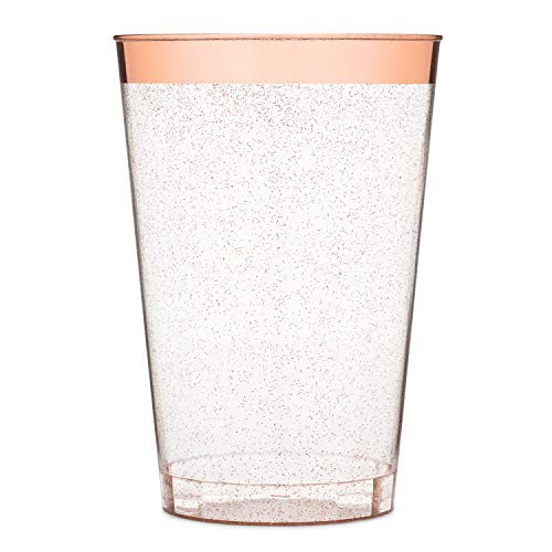 Yuppie Celebrations 12oz Rose Gold Glitter Plastic Party Cups (50 Pack) Elegant Rose Gold Rim Disposable Wine Glasses - Plastic Tumbler Cups for Wedding, Baby Shower, Birthday & Bachelorette Parties