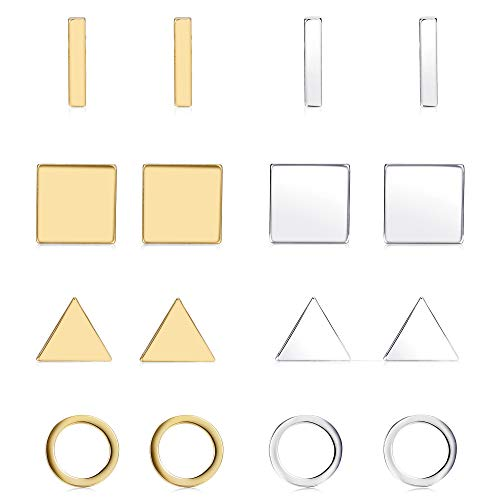 Finrezio 8 Pairs Silver\&Gold Tone Geometric Stud Earrings for Women Men Bar Round Triangle Square Earring Set Stackable Fashion Jewelry