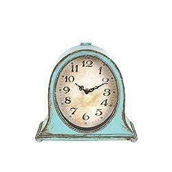 Creative Co-op Metal Mantel Clock with Aqua Finish