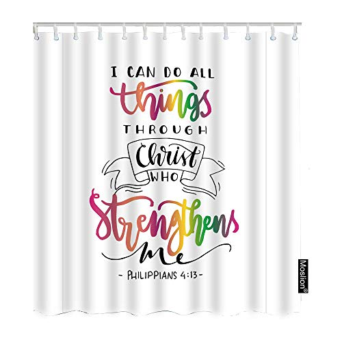 Moslion Christian Quote Shower Curtain Set I Can Do All Things Through Christ Who Strengthens Me Word Shower Curtains Home Decorative Waterproof Polyester Fabric Hooks 72x72 Inch