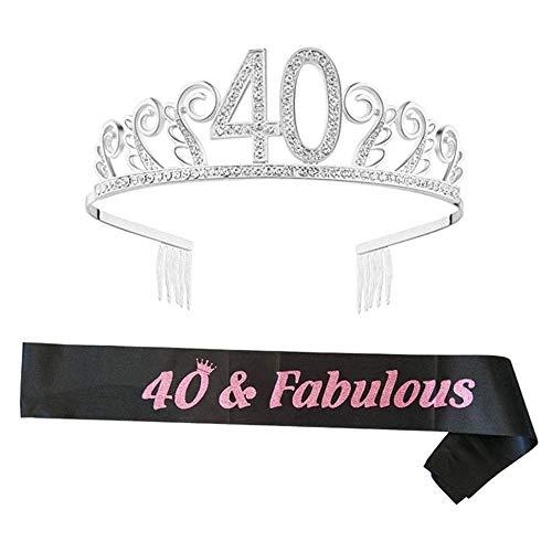 byou Compleanno Crown,Strass Corona Diadema 40 Anni di Compleanno Strass Corona Diadema con Satin Sash per Feste di Compleanno